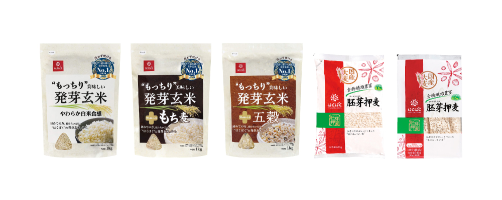 """""""HAKUBAKU"""" Haiga Oshimugi (Rolled oats) / Mocchiri Oishi Hatsuga Genmai (Germinated brown rice)"""